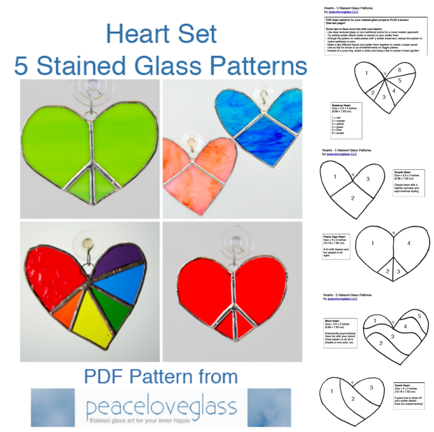 5 stained glass heart pdf patterns heart suncatchers instant
