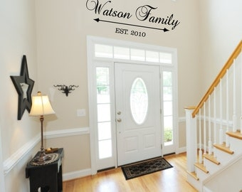 "Personalized Family Last Name Vinyl Wall Decal with Date Established Entry Way Foyer Living Room 12""H x 36"" W FS305"