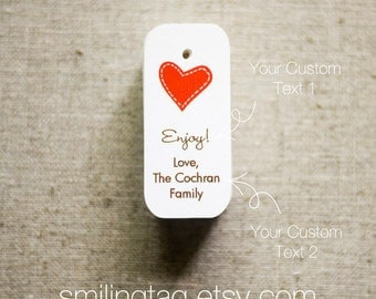 Miniature I Heart You Personalized Gift Tags - Wedding Favor Tags - Thank you tags - Hang tags - Price Tags - Set of 40 (Item code: JS233)