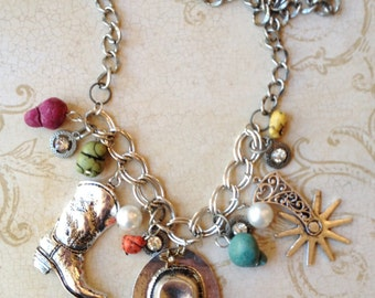 Western Cowgirl Charm Necklace Jewelry
