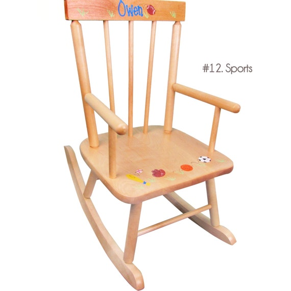 Personalized Rocking Chair for Toddler Boys Natural Wood Rocker ...