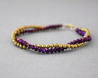 gold pyrite bracelet purple and gold thunder polished czech glass double strand bracelet 14k