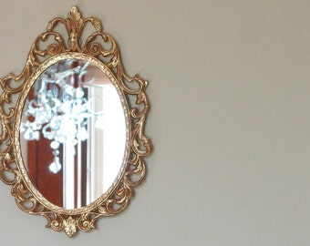 Vintage PYRITE Wall Mirror in GOLD Regency Ornate Frame