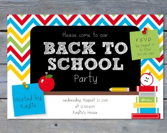 "BACK To School Party Printable Invitation: Personalized - 6""x4"" - Print Your Own - DIY"