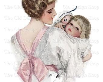 Harrison Fisher Mother and Daughter Vintage Printable Art Digital Download JPG Image