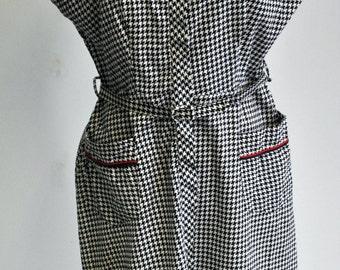 Vintage 1940s 1950s  Black White Houndstooth House Day Dress VLV Rockabilly Large