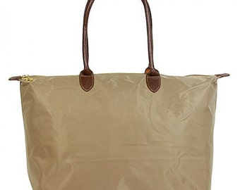 Monogrammed Large Khaki Tote with Zipper Personalized
