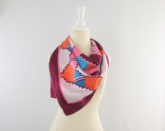 Sale Vintage 1970s Colorful Geometric Southwestern Square Scarf by St. Germain