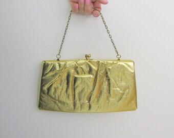 Vintage 1960s Gold Evening Bag - Metallic Clutch Purse