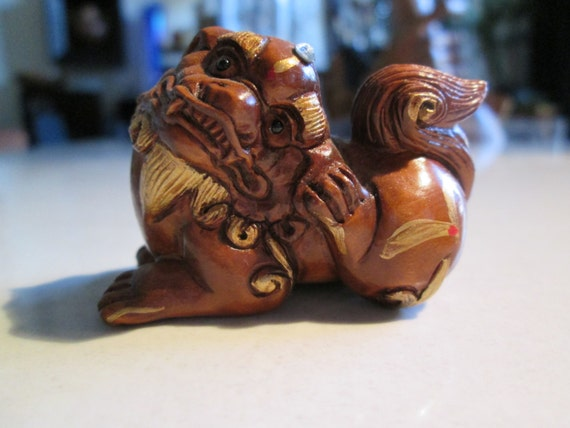 netsuke FOO DOG  guardian of the emperor-2wooden, hand carved, hand painted, hand embellished