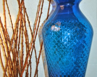 1960's Vintage Cobalt Blue Large Glass Vase