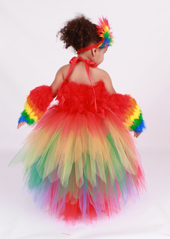 Tutu Dress - Paradise Parrot - Red & Rainbow -Scarlett Macaw Halloween Costume - 12 Month to 2 Toddler Girl