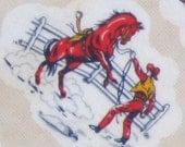 """FLANNEL YARDAGE vintage - 4 YARDS x 36"""" - rodeo cowboy western motif"""