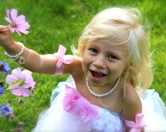 Pearl Bracelet & Necklace SET Flower Girl Gift, Flower Girl Jewelry, Jr Bridesmaid, Little Girls 1st Pearls Birthday - FREE Gift Packaging