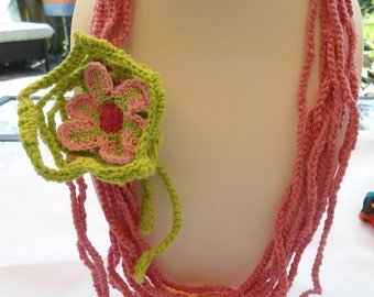 SALE-- GARDENS of  EUROPE -Crochet Chain Flower Necklace -Gypsy Necklace
