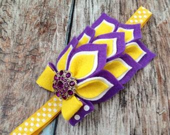 Purple Yellow Felt Headband - Felt Dahlia Petals Polka Dot Headband - LSU Colors Headband