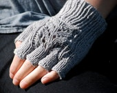 Custom Knit Fingerless Gloves, Recycled Cashmere/Cotton Yarn, Eco-Friendly Luxury
