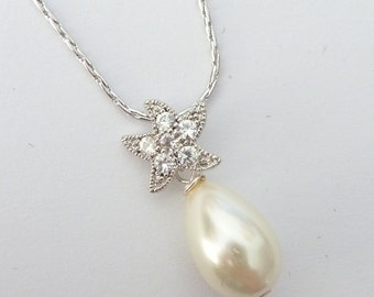 Wedding Bridal Necklace - Cream Ivory Teardrop Pearl with a Starfish Cubic Zirconia Bail Necklace in White Gold Plated Chain