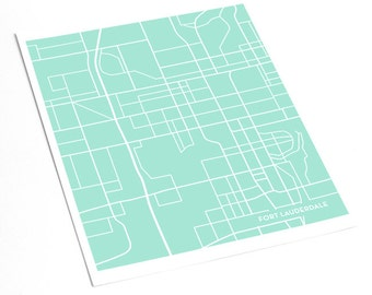 Fort Lauderdale City Map Art Print / Ft Lauderdale Florida Modern Art Poster / 8x10 / Choose your color