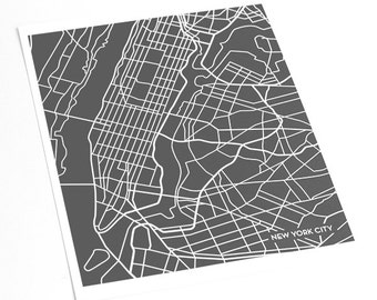 New York City - Manhattan Map Art Print / NYC Poster Art Print / 8x10 Abstract Line Art Digital Print / Any color