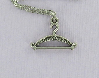 COAT HANGER Necklace - Pewter Charm on a FREE Plated Chain
