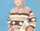 Cowichan White Buffalo Wool Child's Hooded Sweater & Mitten Knitting Pattern on Etsy