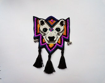 Colorful beaded white polar bear brooch with jingles and black tassels Feminism. Nr10 winter 2013/ 2014 collection - MADE TO ORDER