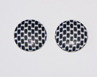 Fabric Covered Button Earrings- Black and White