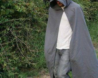 Hooded Cloak - Adult, Dark Grey, Flannel