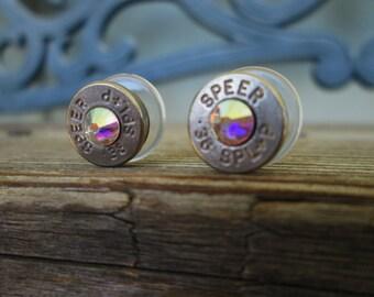 Bullet Earrings  Crystal AB (Aurora Borealis)