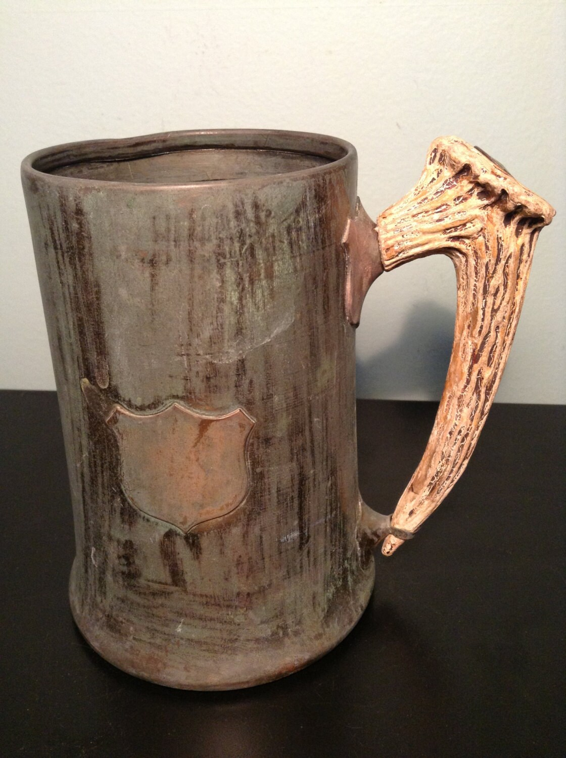 Antique Copper And Brass Stein Or Mug With Antler Horn Handle