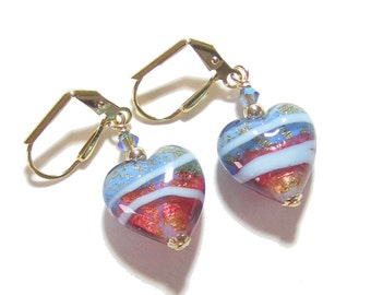 Murano Glass Pink Blue Gold Heart Earrings, Leverback Earrings, Venetian Jewelry, Italian Jewellery