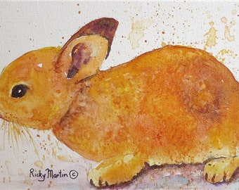 "Baby Bunny,  Nursery, Boy, Girl, Baby Room Decor, Original  7 x 5 x 1/8 ""  Watercolor Painting by ebsq Artist  Ricky Martin. FREE SHIPPING"