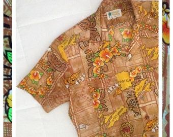 Vintage Hawaiian Shirt for Men 1960s Size Large