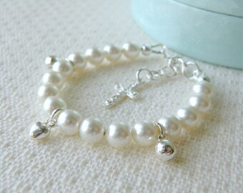 White Baby Pearl Bracelet for Christening Baptism or Communion Flower Girl Bracelet Baby Shower Gift Sterling Silver Charm Bracelet