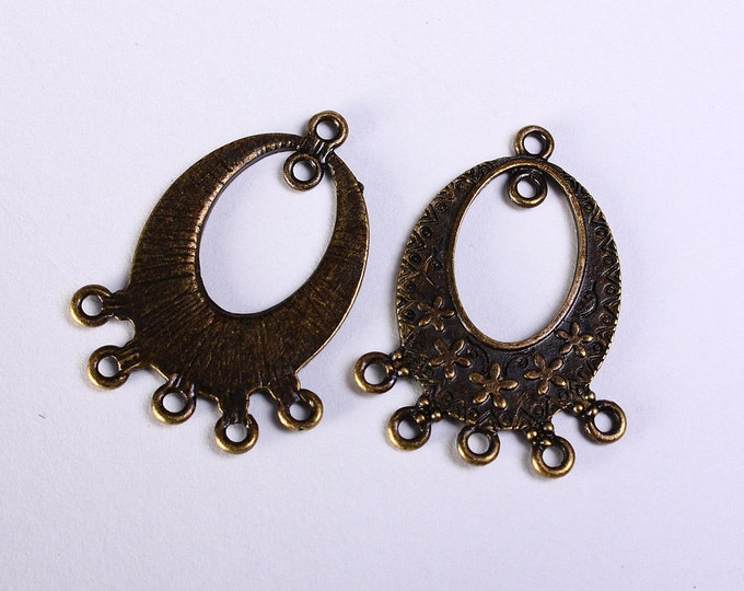 6 Chandelier component pendant antique brass drop flower links 31mm 5 holes 6pcs (1155) - Flat rate shipping