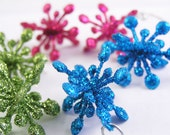 Colorful Christmas star earrings. Holiday jewelry