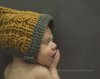 Newborn Mustard and Taupe cabled pixie bonnet with chinstrap