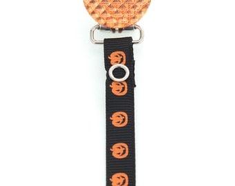 Halloween Orange & Black Jack-o'-Lantern Crystal Pacifier Clip (RHOP)
