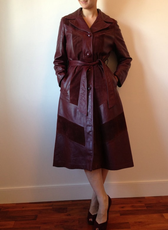Vintage 70s Burgundy Long Leather Trench Coat Leather Jacket