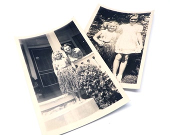 Vintage Photographs Girl Hula Costume 1940s Front Porch