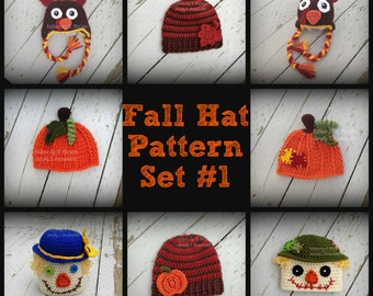 Fall Hat Patterns Collection #1 - Pattern 202 - 5 Different Hats (Pumpkin Patch, Fall Striped Hat, Scarecrows, Turkey) - US and UK Terms