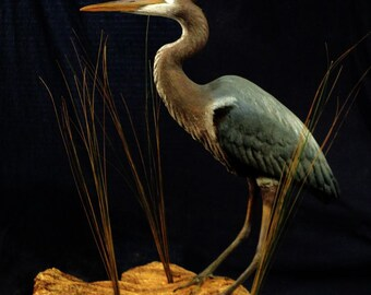 Blue Heron, egret or crane wildlife bird art sculpture