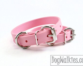 "Bubblegum Pink - 3/4"" 19mm - Beta Biothane Dog Collar - Leather Look and Feel - Custom Dog Collar - Stainless Steel or Brass Hardware"