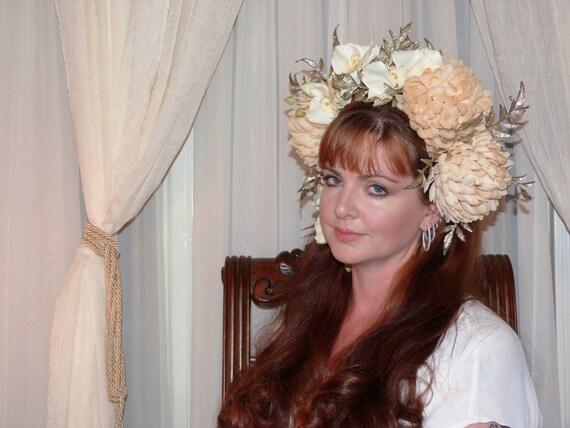 CHAMPAGNE GEISHA Headdress Hair Adornment OOAK