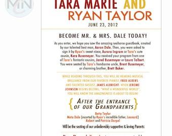 Storybook Funny Wedding Program . Unique Wolfpack Design. Unique Wedding Program Design