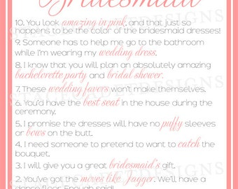 Custom Printable Top Reasons to Be My Bridesmaid/Will You Be My Bridesmaid or Maid of Honor Card Digital File