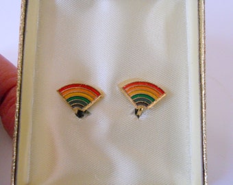 Vintage Rainbow Earrings Colorful Clip-on's Women's Boxed Jewelry LGBT Gift