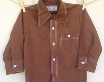 Vintage Brown Collared Shirt, size 2T