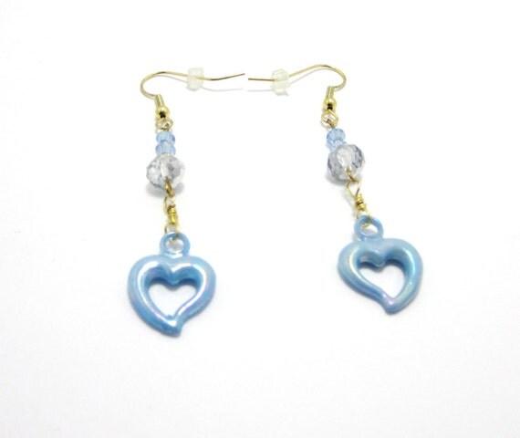 Dangling Heart Earrings ,  Handmade Jewelry, Dangles